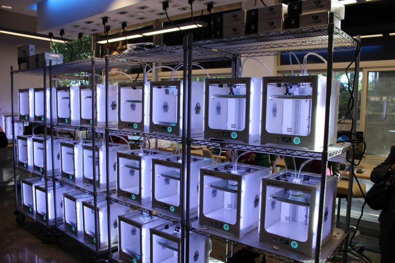 The collection of 24 advanced 3D printers in the Blue makerspace is the largest set on Carolina's campus.