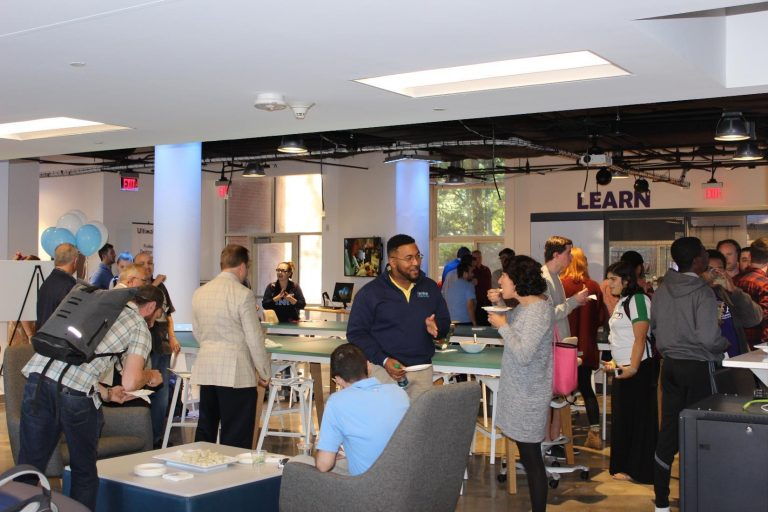 One side of the 3,000-square-foot makerspace offers a think-tank area where visitors can study and collaborate.