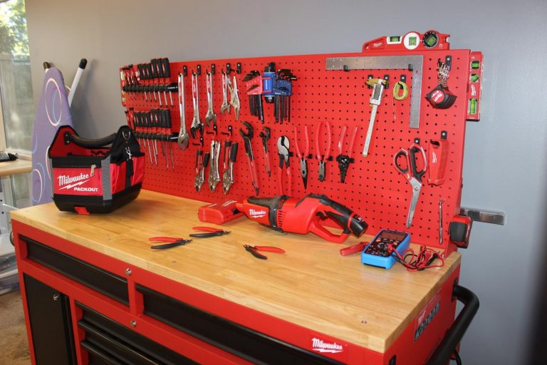 One of Carmichael's workbenches, which includes a variety of hand tools.