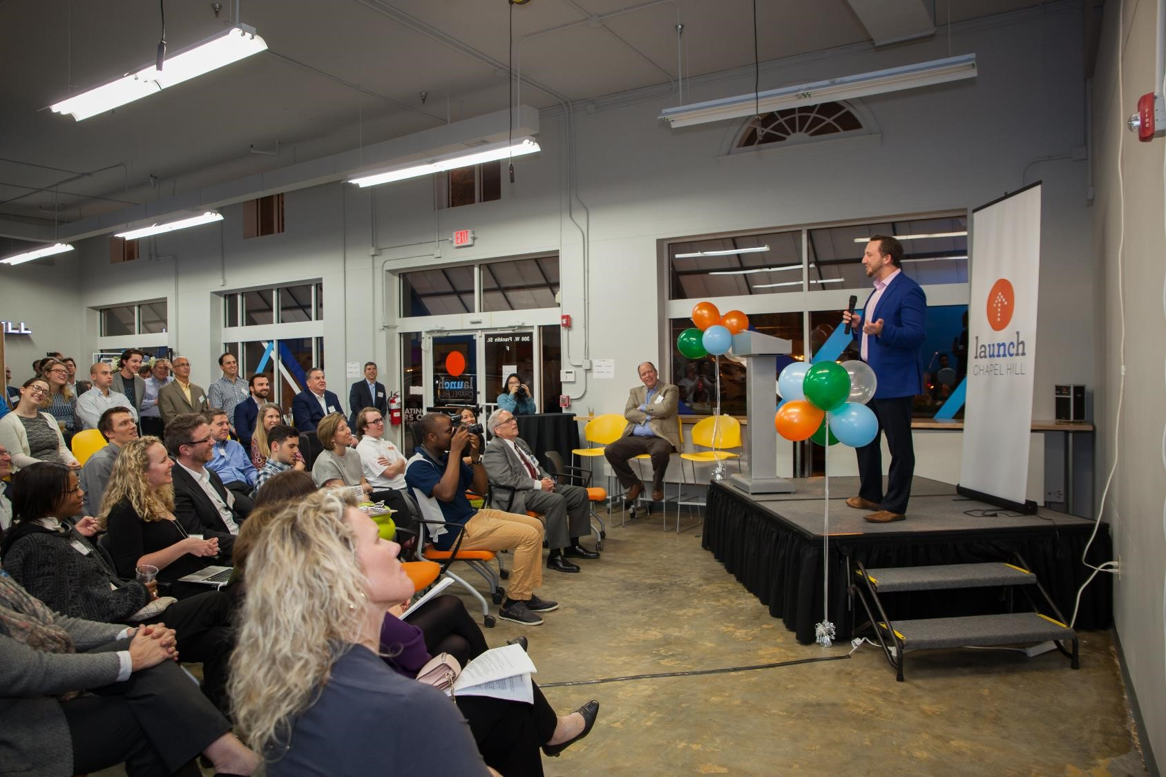 Local officials, university leaders, area entrepreneurs and residents gather for a celebration of Launch Chapel Hill's first five years of supporting startups in Chapel Hill and Orange County.