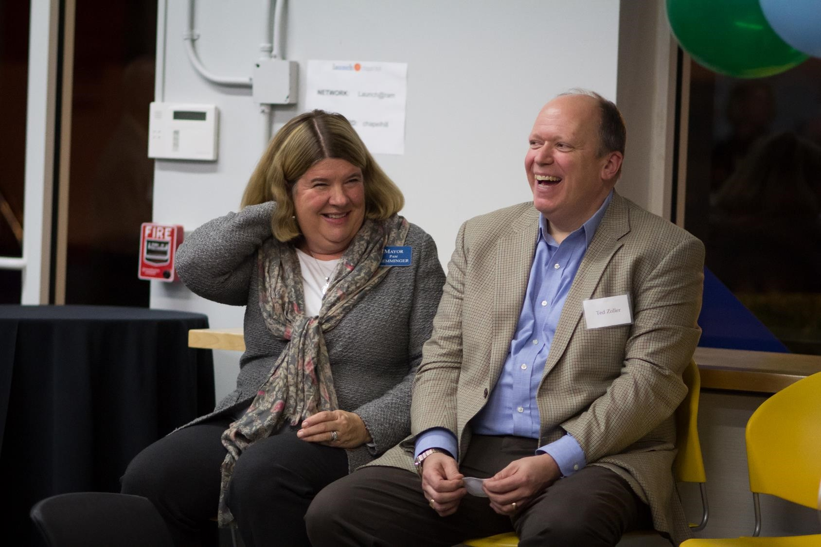 Pam Hemminger, mayor of Chapel Hill, and Ted Zoller, T.W. Lewis Clinical Professor of Strategy and Entrepreneurship and Director of the Center for Entrepreneurial Studies, help lead the celebration.