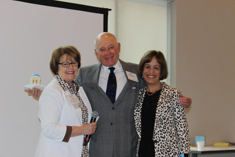 Vice Chancellor Judith Cone, Entrepreneur-in-Residence Buck Goldstein and Chancellor Carol Folt