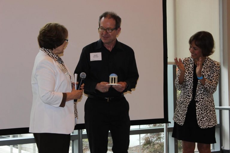 Vice Chancellor Judith Cone, Keith Sawyer (School of Education) and Chancellor Folt