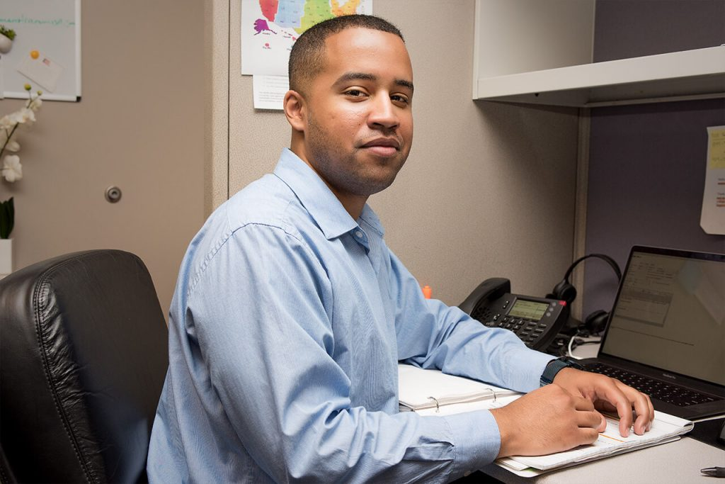 Chris Chapman, one of three case managers takes calls from the hotline and helps veterans find resources in the midst of a crisis