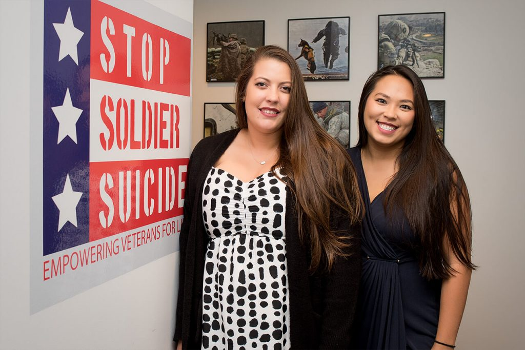 Shannon Wenger (Left) plans and attends events on behalf of Stop Soldier Suicide. Cindy Hoang works alongside Shannon to help manage strategic partnerships