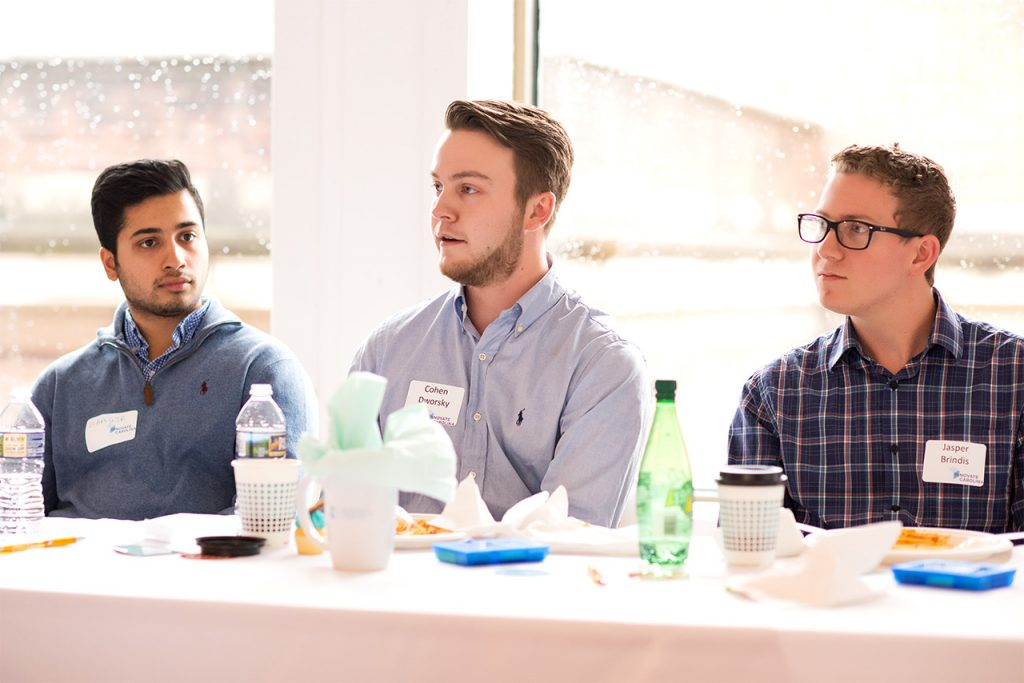 Cohen Dworsky (center) and Jasper Brindis (right) met a national network of entrepreneurs, students and faculty at the Forbes Under 30 Summit in Boston