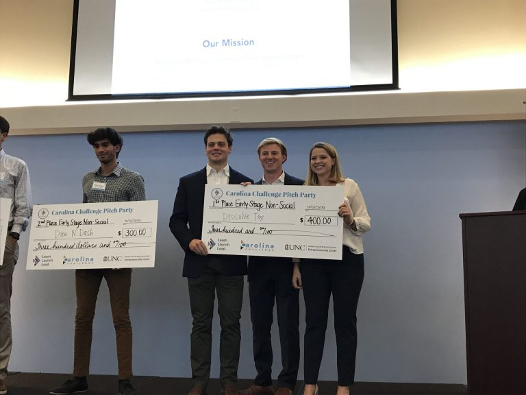 Dissolve-Tex (1st Place, Early-Stage Social): A technology that rapidly dissolves flushed tampons, solving the problem of clogged and damaged sewer lines, which cost millions of dollars a year.