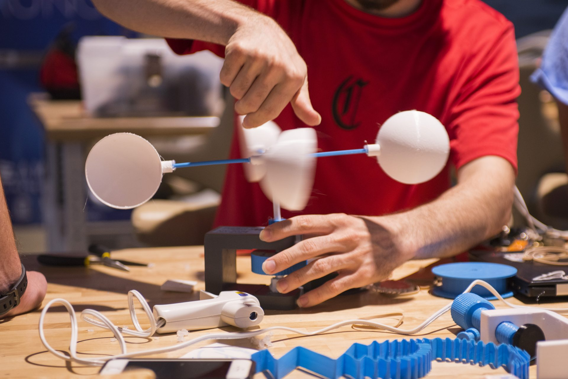 Students create prototypes to pitch during the Makeathon
