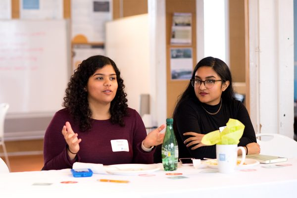 Pooja Joshi (left) worked to organize and lead the Triangle Health Innovations Conference